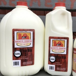 Gallon and half gallon jugs of A2 millk from Buckeye Country Creamery