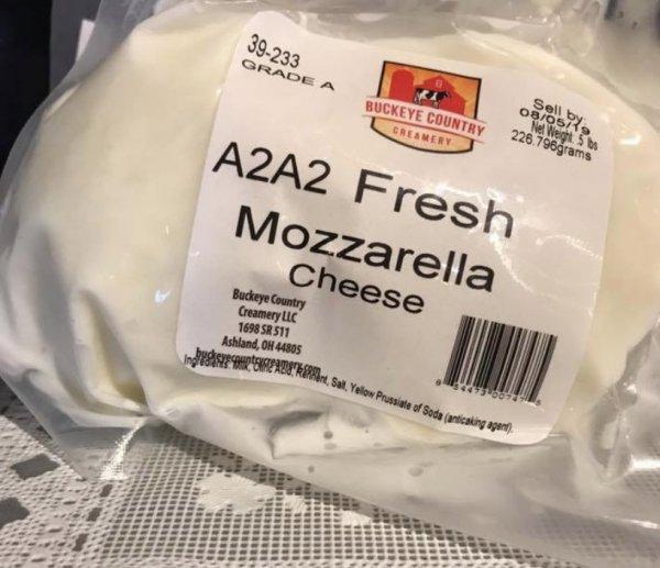Package of A2A2 fresh mozzarella cheese from Buckeye Country Creamery