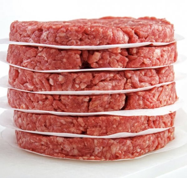 stack of ground beef patties